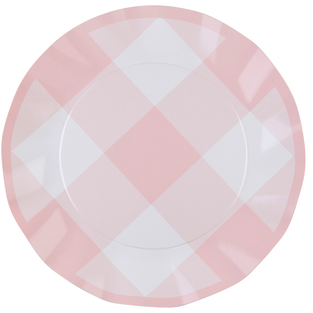 Load image into Gallery viewer, Pink Gingham Wavy Paper Dinner Plate