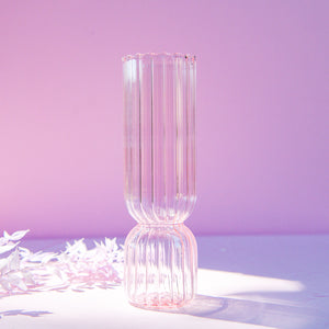 Load image into Gallery viewer, Blush Ribbed Cylinder Vase