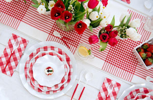 Load image into Gallery viewer, Red Gingham Wavy Salad Paper Plate