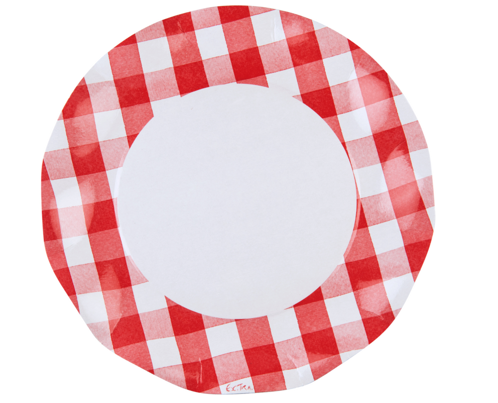 Red Gingham Wavy Paper Dinner Plate