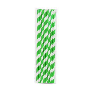 Load image into Gallery viewer, Green & White Striped Paper Straws