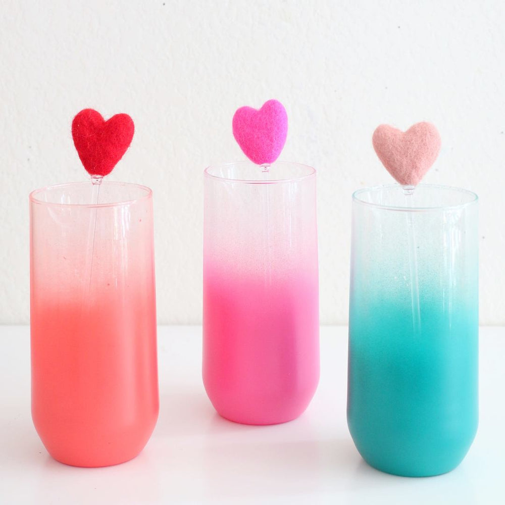 Load image into Gallery viewer, Rainbow Hearts Cocktail Drink Stirrers