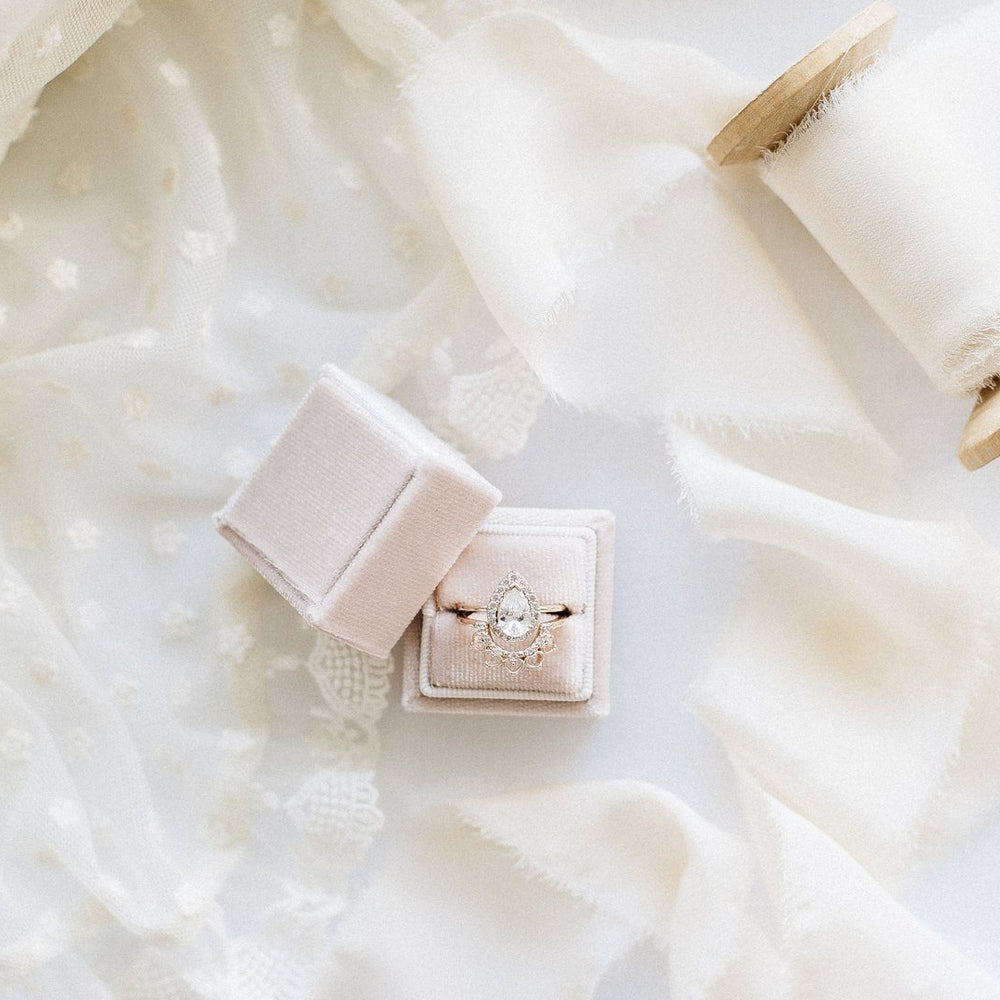 Classic Square Velvet Single Ring Box - Pearl