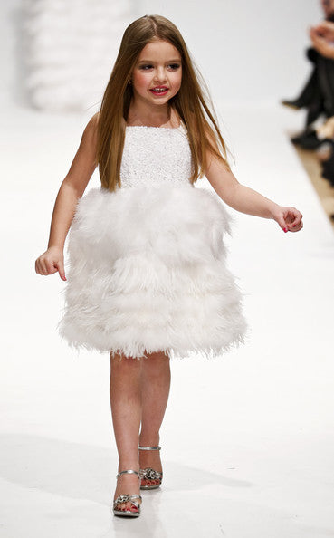 Couture Sequin and White Feather Dress