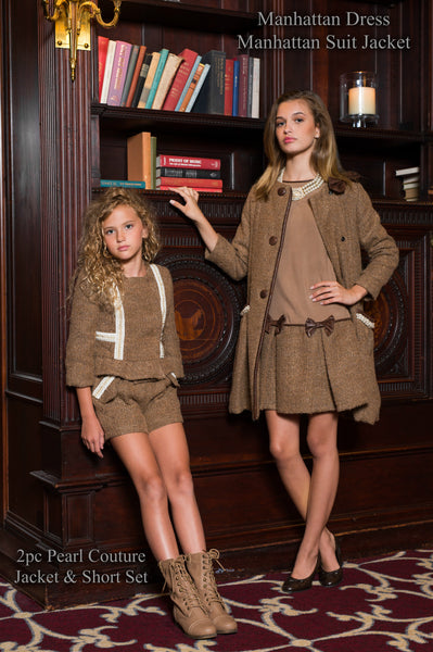 Brown Pearl Jacket and Short Set