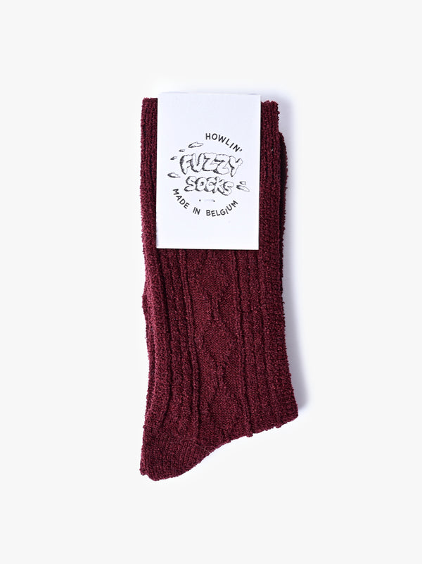 Fuzzy Socks - Bordeaux