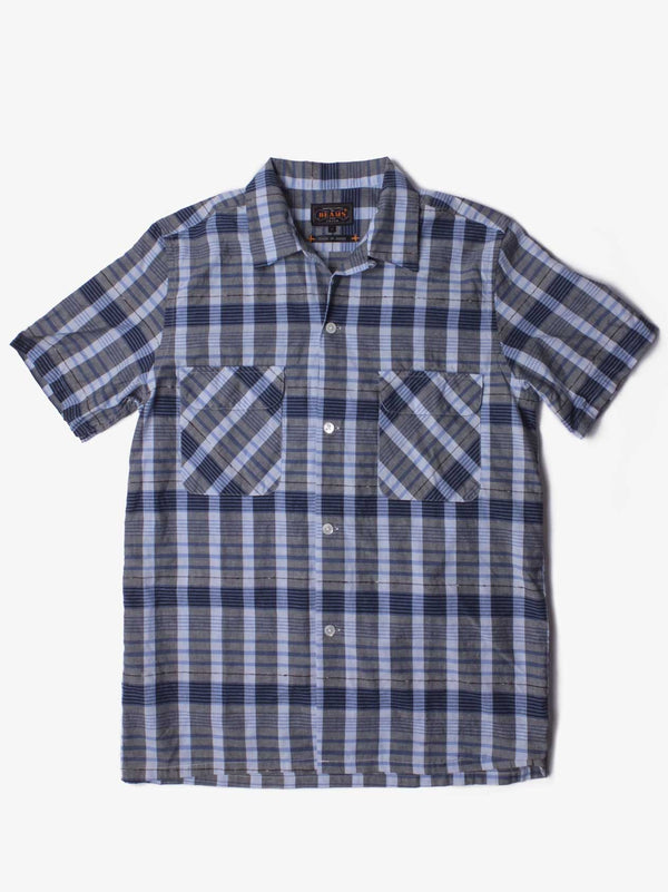 Open Dobby Check Shirt - Grey / Blue