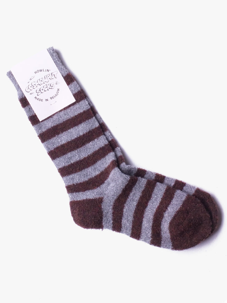Cosmonaut Socks - Light Grey / Brown