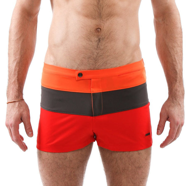 Parke & Ronen Colorblock Lancaster Stretch Retro Swim Trunk