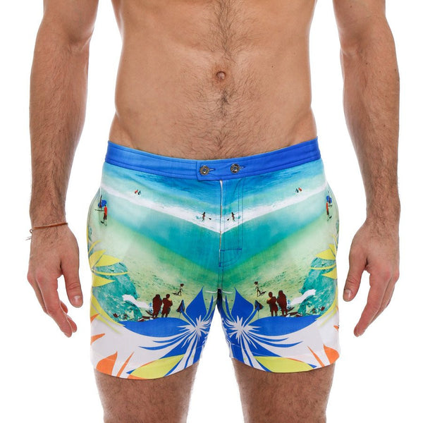 Parke and Ronen Lido North Island Print Stretch Tailored Swim Trunk