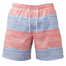 Franks Thin Stripe Men's Swim Trunks - Red White & Blue
