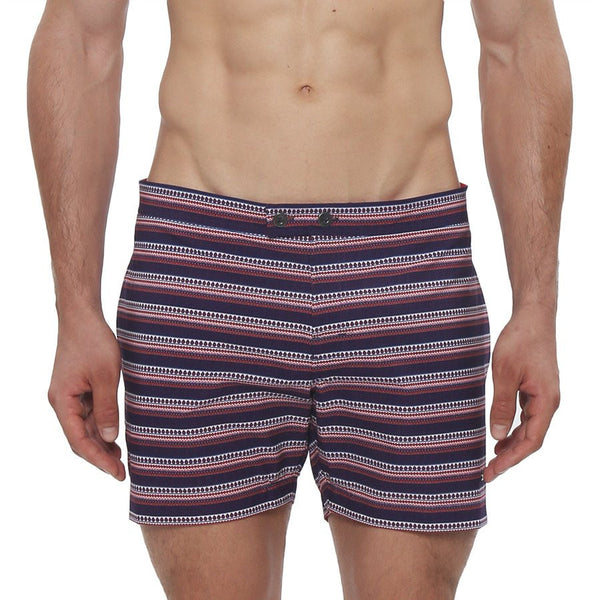 Parke and Ronen Lido Ravi Print Stretch Tailored Swim Trunk - Red
