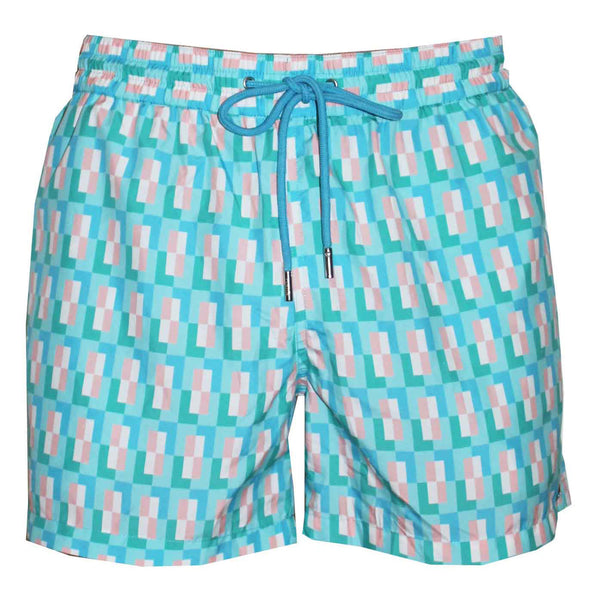 Naila Kuta Tartan Eco-Friendly Swim Trunks - Turquoise