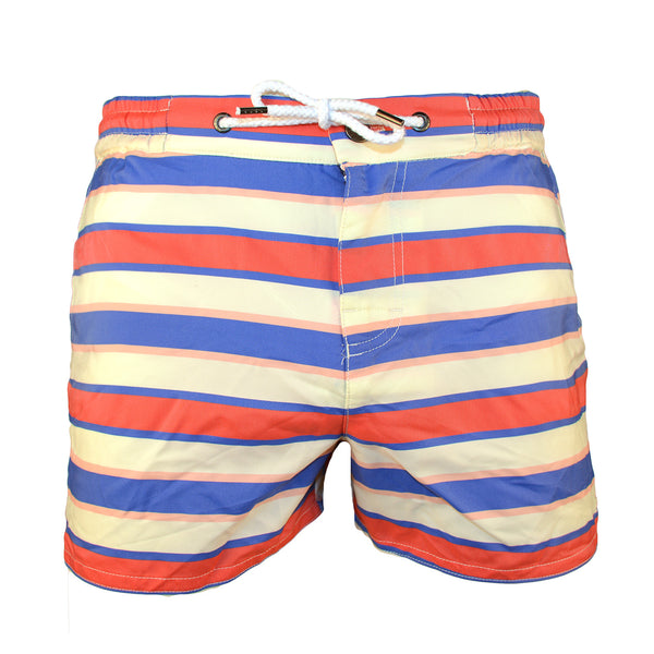 Parke & Ronen Red Dickie Stripe Swim Trunk