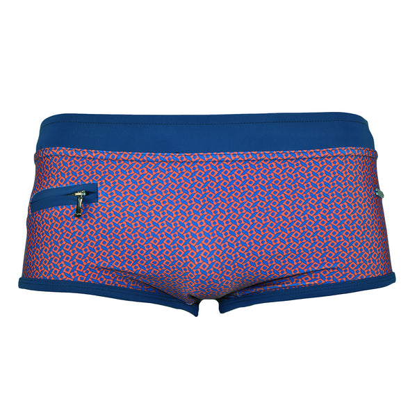 Parke & Ronen Red Navy Corcovado Zip Pocket Swim Brief