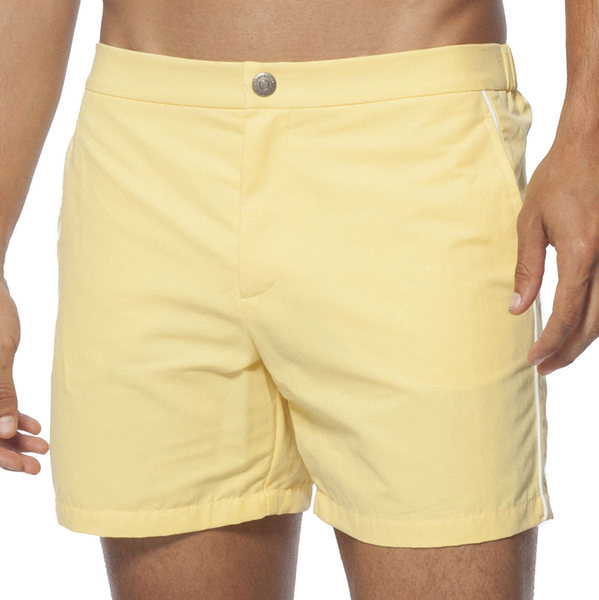 T. Christopher Men's Swim Trunks with Piping - Lemon