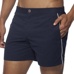T. Christopher Men's Swim Trunks with Piping - Navy