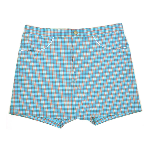 T. Christopher Aqua/Red Plaid Hampton Swim Trunk