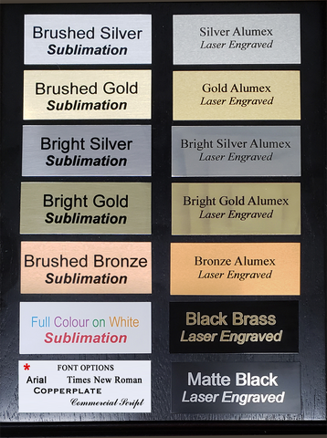 Engraved or Sublimated Plates - starting at:
