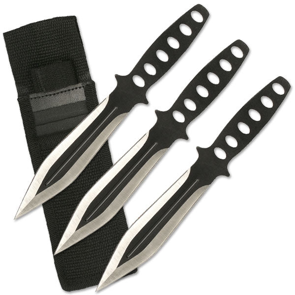 Two tone Black/Silver knife throwing set.