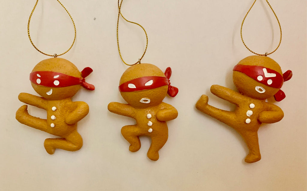 Gingerbread martial arts ornaments.