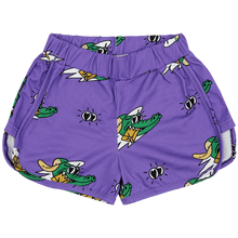 Load image into Gallery viewer, Golden Gator Purple Retro Shorts