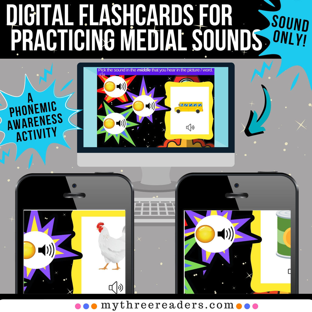 Practicing Medial Sounds Digital Boom Flashcards - Distance Learning!