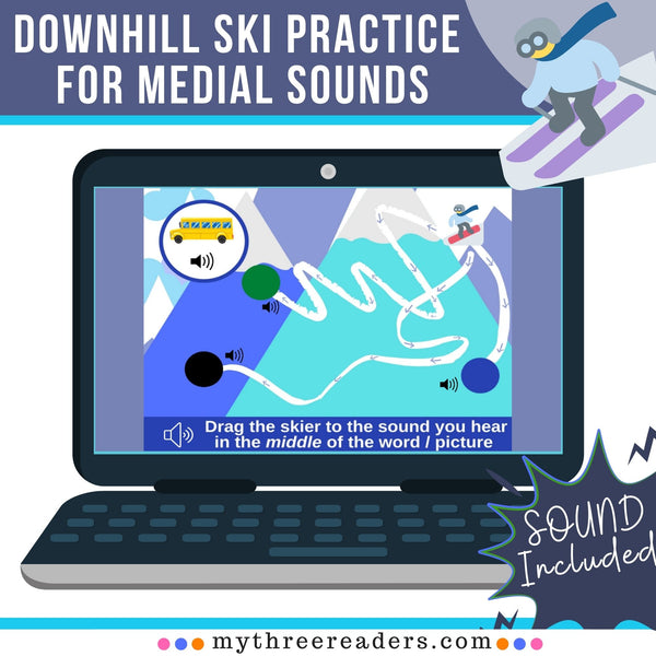 Downhill Snow Skiing - Medial Sounds Digital Boom Flashcards Distance Learning!
