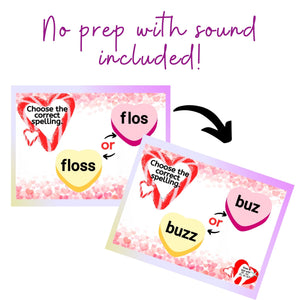 Conversation Heart Floss Rule Word Practice