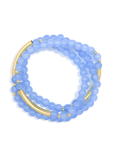 Gia Beaded Wrap Bracelet - Light Blue