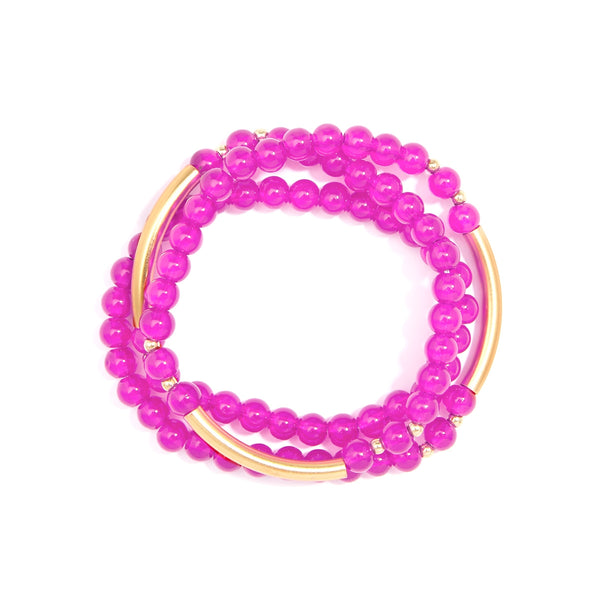 Gia Beaded Wrap Bracelet - Pink