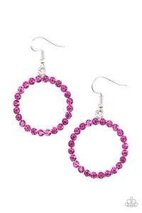 Paparazzi Bubblicious - Pink Rhinestone - Silver Frame - Earrings