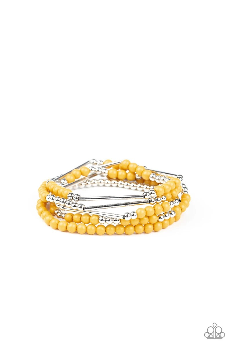 BEAD Between The Lines - Yellow - Set of 5 Stretchy Bracelets