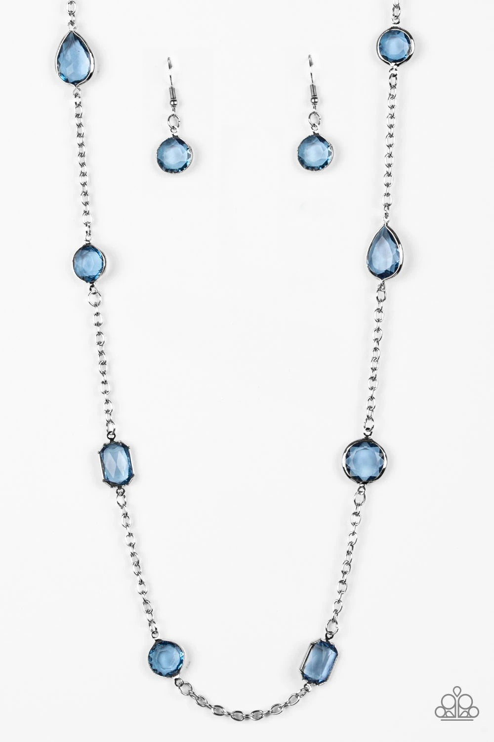 Glassy Glamorous - Blue Long Necklace