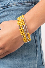 Load image into Gallery viewer, BEAD Between The Lines - Yellow - Set of 5 Stretchy Bracelets