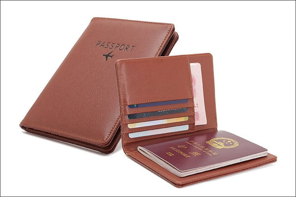 Protege-Passeport-RFID-Avion-Original-marron-ouvert