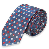 DARK GREY SKINNY TIE WITH RED AND WHITE FLOWER