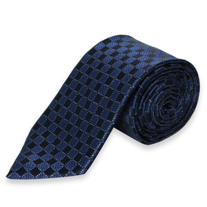 CHECKERED DARK BLUE REGULAR TIE