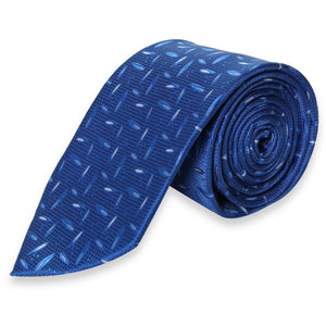 BLUE WITH WHITE PATTERN REGULAR TIE