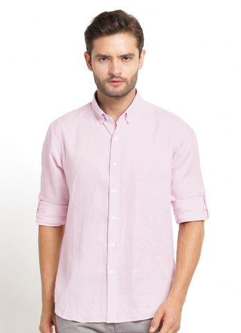 CASUAL LONG SLEEVE PINK LINEN