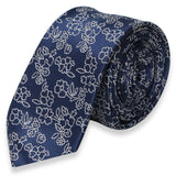 DARK BLUE SKINNY TIE WITH FLOWER PATTERN