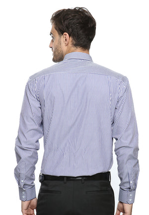 DOUBLE BARREL DARK BLUE WHITE STRIPES SHIRT