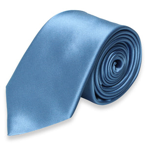 REGULAR SILK COLOR TIE DARK BLUE