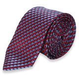 RED PURPLE GEOMETRIC SKINNY TIE