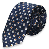 NAVY BLUE WITH FLOWER SKINNY TIE