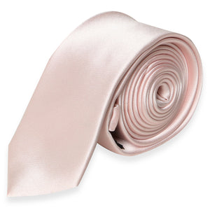 SKINNY SILK COLOR TIE DUSTY PINK