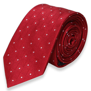 RED WHITE POLKADOT SKINNY TIE