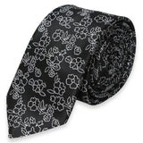 BLACK SKINNY TIE WITH WHITE FLOWER PATTERN