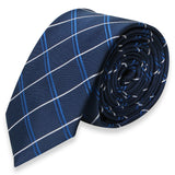 NAVY BLUE SKINNY TIE WITH WHITE STRIPES