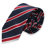NAVY BLUE WITH RED STRIPES SKINNY TIE